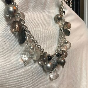 Jewelry - Statement necklace silver , gray and crystals